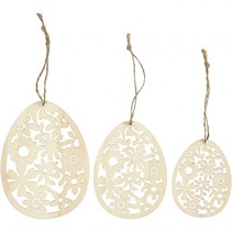 houten ornamenten 8 -10 - 12 cm blank 3 stuks