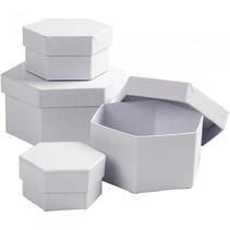 dozen Hexagonaal karton 6,5-8-10-12 cm wit 4-delig