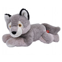 knuffelwolf Ekokins 58 x 38 cm pluche grijs