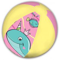 strandbal Whale junior 45 cm roze/geel