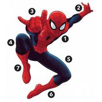 muursticker Spider-Man 134 cm vinyl rood 17-delig