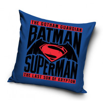 kussen Batman vs Superman 40 x 40 cm katoen blauw
