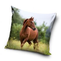 kussen Horse junior 40 x 40 cm katoen bruin/groen