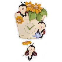 wandklok bloempot junior 27 x 35 cm hout beige/groen/geel