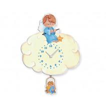 wandklok engel jongens 27 x 37 cm hout blauw/wit