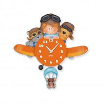 wandklok vliegtuig junior 37 x 37 cm hout oranje