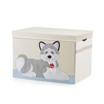speelgoedkist Husky Marcus 65 liter hout blank/grijs