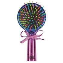 haarborstel met spiegel meisjes 15 x 7,5 cm blauw/roze