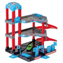speelset parkeergarage 35 x 25 x 30 cm rood/blauw