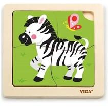 dierenpuzzel 4 stukjes zebra groen