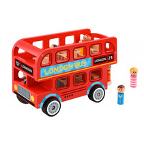 speelgoedbus London 28,5 x 19 cm hout rood 9-delig