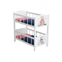 poppen stapelbed Teddy College junior 57 x 31 cm hout wit