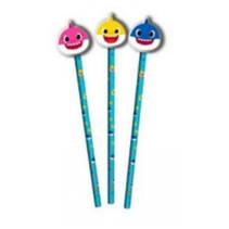 potloden met gum Baby Shark hout/rubber blauw 3 stuks