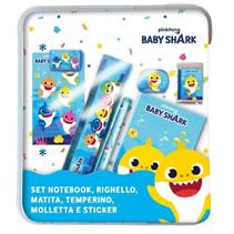 schrijfset Baby Shark junior hout lichtblauw 7-delig
