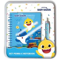 schrijfset Baby Shark junior papier blauw 2-delig