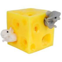 knijpkaas met twee muizen junior 5 cm siliconen geel