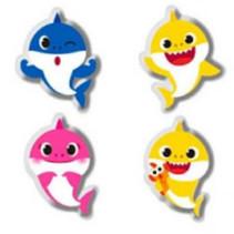 gummenset Baby Shark rubber geel/blauw/roze 4-delig