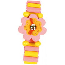 horloge junior 14 cm hout roze