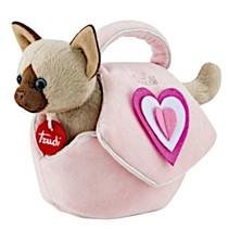 knuffelkat in tas meisjes 29 cm pluche roze/bruin