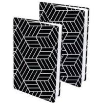 rekbare boekenkaft A4 textiel zwart/wit 2 stuks
