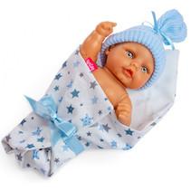 babypop met slaapzak meisjes 25 cm wit/blauw 4-delig