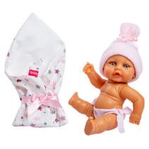 babypop met slaapzak meisjes 25 cm wit/roze