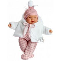 babypop Lloroncete meisjes 28 cm wit/roze 5-delig