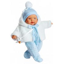 babypop Lloroncete meisjes 28 cm wit/lichtblauw 5-delig