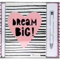 schrijfset Dream Big meisjes 20 x 14 cm papier roze/wit
