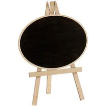 schildersezel ovaal 21 x 33 cm hout naturel/zwart