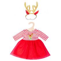 babypoppenkleding kerstjurk 35-45 cm rood 2-delig