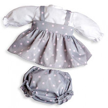 poppenjurk meisjes 45 cm textiel grijs/wit 2-delig