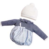 poppenjurk Claudia meisjes 38 cm textiel blauw 2-delig