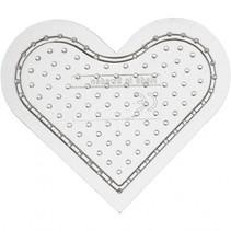 onderplaat strijkkralen transparant hart 8 cm