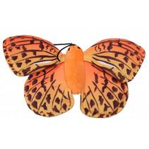 vingerpop vlinder 22 cm pluche oranje/geel