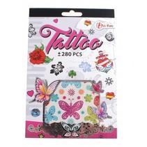 tattoo stickerboekje +280 stuks roze