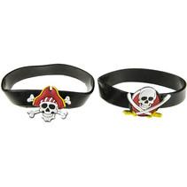 armband piraat jongens 6,5 cm rubber zwart 2 stuks