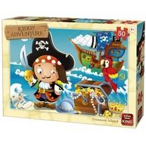 legpuzzel Kiddy adventure - Treasure Island 50 stukjes