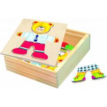 vormenpuzzel teddybeer 13 x 14 cm hout 18-delig