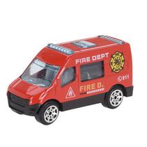 hulpdienstvoertuig Brandweerbus 7 cm staal rood/zwart
