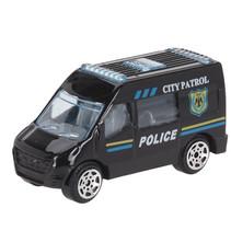 hulpdienstvoertuig Politiebus jongens 7 cm staal zwart/grijs