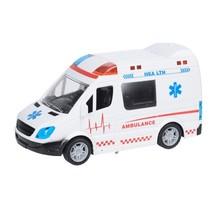 ambulance bus met licht en geluid 21 cm wit