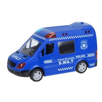politie bus met licht en geluid 21 cm blauw
