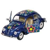 Metalen Volkswagen Kever Bloemen: 17 cm Blauw