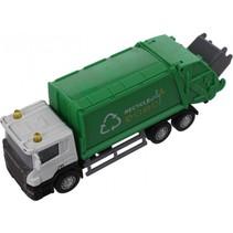 vuilniswagen Super Cars 1:64 groen/wit 14 cm