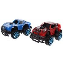 monstertrucks dino-print 6 cm 2 stuks rood/blauw