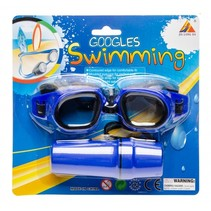 zwembril met brillenkoker blauw one-size