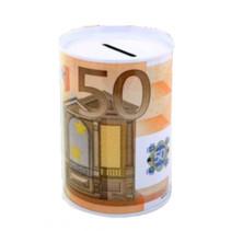 spaarpot 50 euro 12 x 8,5 cm aluminium wit/oranje