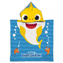 badponcho Baby Shark 50 x 100 cm polyester blauw