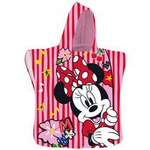 badponcho Minnie meisjes 50 x 100 cm polyester rood/roze